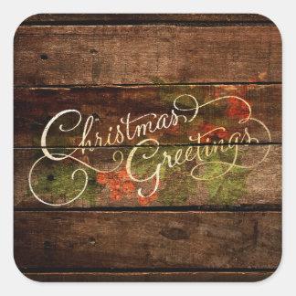 Navidad rústico del país pegatina cuadrada