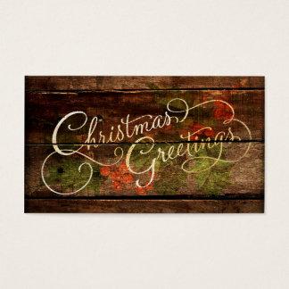 Navidad rústico del país tarjetas de visita