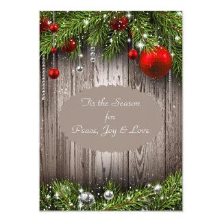 Navidad rústico que casa la invitación