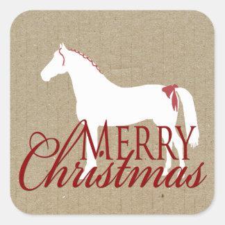 Navidad rústico rojo y blanco del caballo colcomanias cuadradas