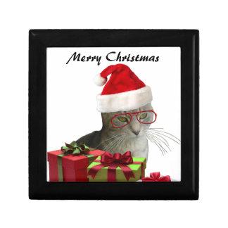 Navidad sabio de moda divertido del gato de Santa Cajas De Regalo