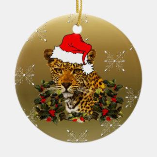Navidad salvaje adorno navideño redondo de cerámica