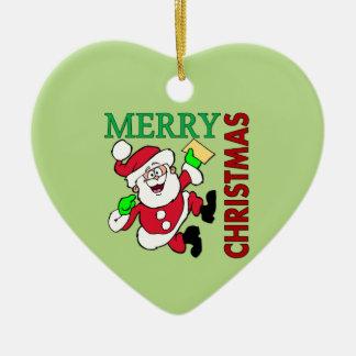 Navidad Santa Adorno Navideño De Cerámica En Forma De Corazón