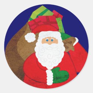 Navidad Santa con el pegatina redondo de los