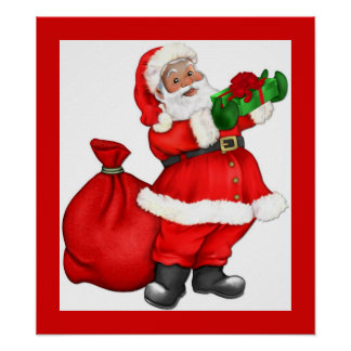 Navidad Santa con el regalo Póster