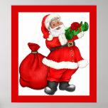 Navidad Santa con el regalo Posters