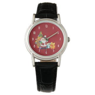 Navidad Santa con un saco de regalos Reloj