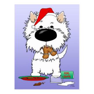 Navidad Santa de Westie Tarjetas Postales