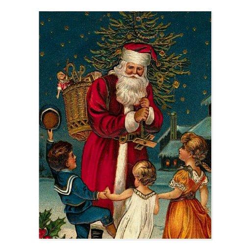 Navidad Santa del ejemplo del vintage y niños Postales