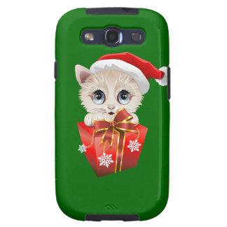 Navidad Santa del gatito con el regalo Galaxy SIII Protectores