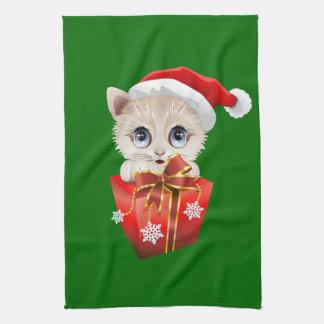 Navidad Santa del gatito con el regalo Toallas