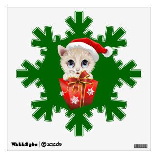 Navidad Santa del gatito con la etiqueta de la par Vinilo Adhesivo