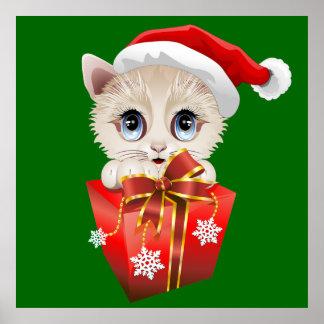 Navidad Santa del gatito con los posters del regal