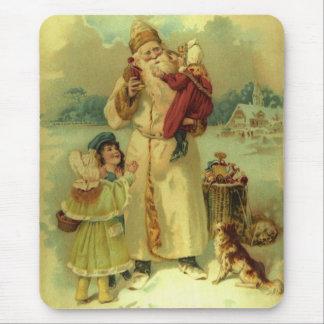 Navidad Santa del Victorian del vintage y niños Alfombrilla De Ratones