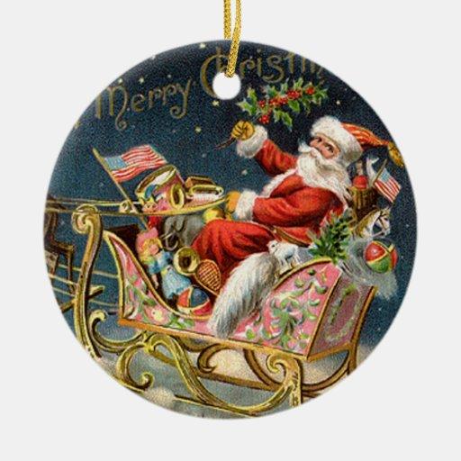 Navidad Santa del vintage Adorno Redondo De Cerámica