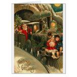 Navidad Santa del vintage en el tren Felicitaciones