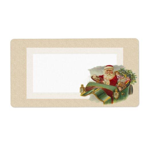 Navidad Santa del vintage en un coche antiguo clás Etiquetas De Envío