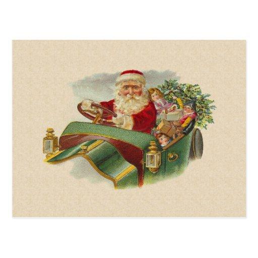 Navidad Santa del vintage en un coche antiguo Postal