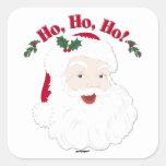 ¡Navidad Santa del vintage Ho, Ho, Ho! Calcomania Cuadradas Personalizada