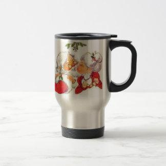 Navidad Santa del vintage que besa a señora Claus Taza De Viaje
