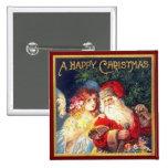 Navidad Santa del vintage y ángel Pin