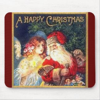 Navidad Santa del vintage y ángel Alfombrillas De Ratón