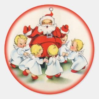 Navidad Santa del vintage y pegatina de los ángele