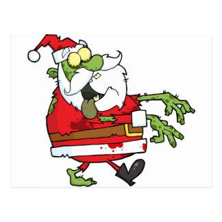 Navidad Santa del zombi divertido Postal