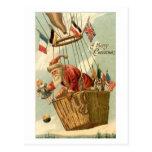 Navidad Santa en globo del aire caliente Postales