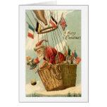 Navidad Santa en globo del aire caliente Tarjetas