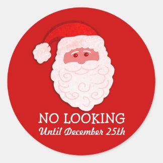 Navidad Santa ningún pegatina rojo de mirada