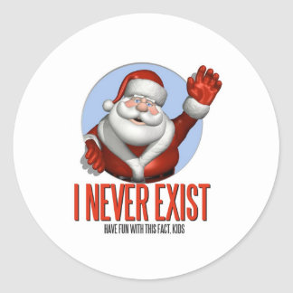 Navidad Santa nunca existe Pegatina Redonda