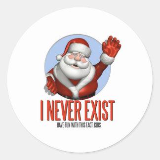 Navidad: Santa nunca existe Pegatina Redonda