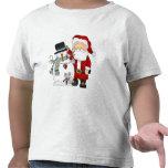 Navidad Santa y camiseta del muñeco de nieve