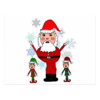 Navidad Santa y duendes Tarjetas Postales