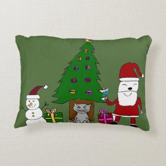 Navidad Santa y gato Cojín Decorativo