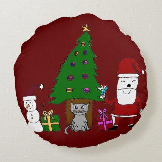Navidad Santa y gato Cojín Redondo