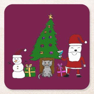 Navidad Santa y gato Posavasos De Cartón Cuadrado