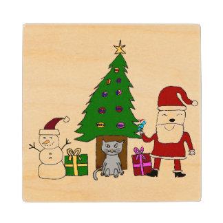 Navidad Santa y gato Posavasos De Madera