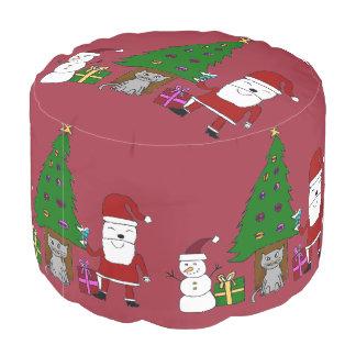 Navidad Santa y gato Puf Redondo
