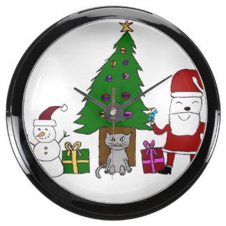 Navidad Santa y gato Reloj Acuario