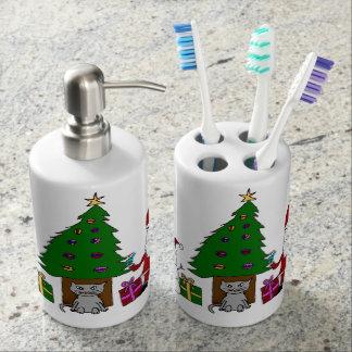 Navidad Santa y gato Vasos Para Cepillos De Dientes
