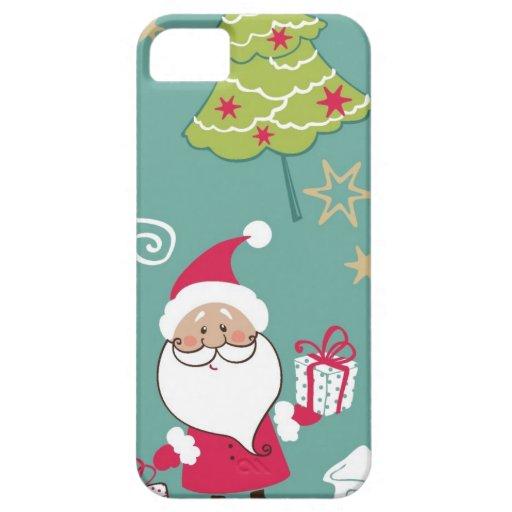Navidad Santa y modelo del muñeco de nieve iPhone 5 Case-Mate Fundas