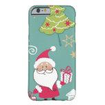Navidad Santa y modelo del muñeco de nieve Funda De iPhone 6 Barely There