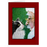 Navidad Santa y tarjeta de felicitación del gato