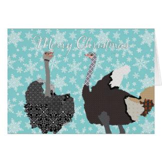 Navidad santo de la avestruz de O que saluda Tarjeta De Felicitación