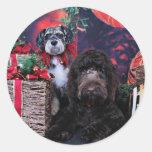 Navidad - Schnauzer Apache - Bowen LabraDoodle Etiquetas Redondas