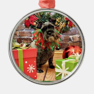 Navidad - Schnauzer - Fenway Ornamento De Navidad