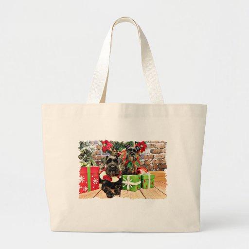 Navidad - Schnauzer - Fergie y Fenway Bolsas