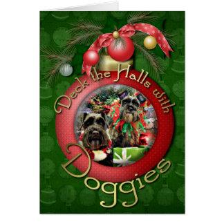 Navidad - Schnauzer - Fergie y Fenway Tarjeta De Felicitación